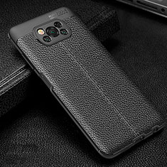 Soft Silicone Gel Leather Snap On Case Cover for Xiaomi Poco X3 NFC Black