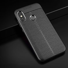 Soft Silicone Gel Leather Snap On Case Cover for Xiaomi Redmi 6 Pro Black