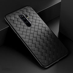 Soft Silicone Gel Leather Snap On Case Cover for Xiaomi Redmi 9 Prime India Black