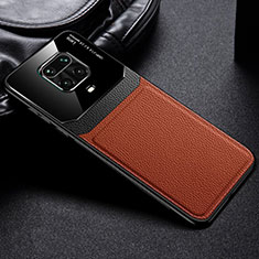 Soft Silicone Gel Leather Snap On Case Cover for Xiaomi Redmi Note 9S Brown