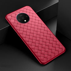 Soft Silicone Gel Leather Snap On Case Cover H01 for OnePlus 7T Red