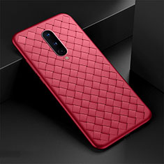 Soft Silicone Gel Leather Snap On Case Cover H01 for OnePlus 8 Red