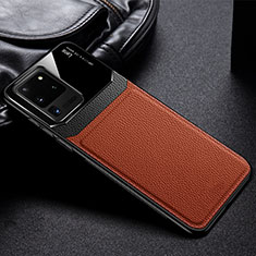 Soft Silicone Gel Leather Snap On Case Cover H01 for Samsung Galaxy S20 Ultra 5G Brown