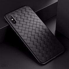 Soft Silicone Gel Leather Snap On Case Cover H01 for Xiaomi Redmi 9A Black