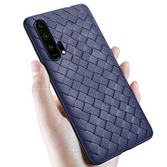 Soft Silicone Gel Leather Snap On Case Cover H02 for Huawei Honor 20 Pro Blue