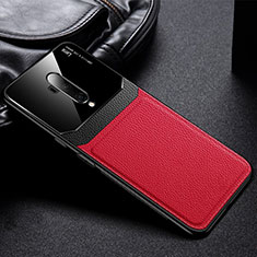 Soft Silicone Gel Leather Snap On Case Cover H02 for OnePlus 7T Pro Red