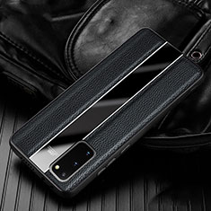 Soft Silicone Gel Leather Snap On Case Cover H02 for Samsung Galaxy S20 Black