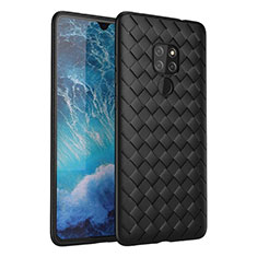 Soft Silicone Gel Leather Snap On Case Cover H03 for Huawei Mate 20 Black
