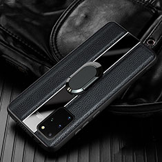 Soft Silicone Gel Leather Snap On Case Cover H04 for Samsung Galaxy S20 Plus 5G Black