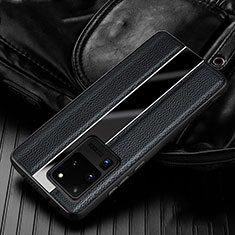 Soft Silicone Gel Leather Snap On Case Cover H04 for Samsung Galaxy S20 Ultra 5G Black