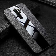 Soft Silicone Gel Leather Snap On Case Cover H04 for Xiaomi Redmi Note 8 Pro Black