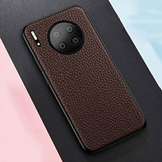 Soft Silicone Gel Leather Snap On Case Cover H05 for Huawei Mate 30 Pro 5G Brown