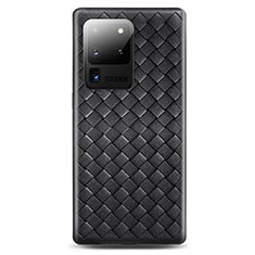 Soft Silicone Gel Leather Snap On Case Cover H05 for Samsung Galaxy S20 Ultra 5G Black