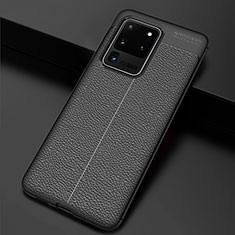 Soft Silicone Gel Leather Snap On Case Cover H06 for Samsung Galaxy S20 Ultra 5G Black