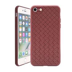 Soft Silicone Gel Leather Snap On Case Cover S01 for Apple iPhone SE (2020) Brown