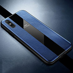 Soft Silicone Gel Leather Snap On Case Cover S01 for Huawei Enjoy 10e Blue
