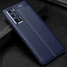 Soft Silicone Gel Leather Snap On Case Cover S01 for Huawei Honor 30 Pro Blue