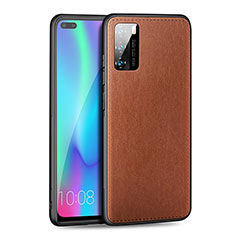 Soft Silicone Gel Leather Snap On Case Cover S01 for Huawei P40 Brown