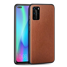 Soft Silicone Gel Leather Snap On Case Cover S01 for Huawei P40 Pro Brown