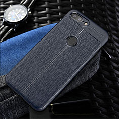 Soft Silicone Gel Leather Snap On Case Cover S01 for OnePlus 5T A5010 Blue