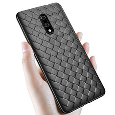 Soft Silicone Gel Leather Snap On Case Cover S01 for OnePlus 7 Black