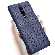 Soft Silicone Gel Leather Snap On Case Cover S01 for OnePlus 7 Pro Blue