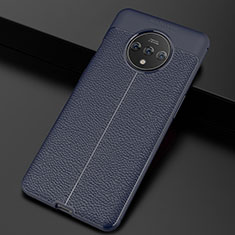 Soft Silicone Gel Leather Snap On Case Cover S01 for OnePlus 7T Blue