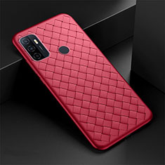 Soft Silicone Gel Leather Snap On Case Cover S01 for Oppo A53s Red