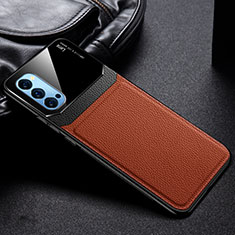 Soft Silicone Gel Leather Snap On Case Cover S01 for Oppo Reno4 Pro 5G Brown
