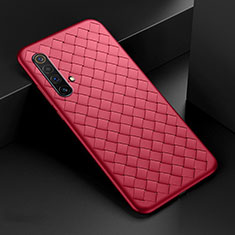 Soft Silicone Gel Leather Snap On Case Cover S01 for Realme X50 5G Red