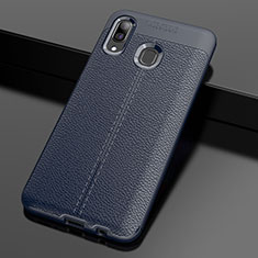Soft Silicone Gel Leather Snap On Case Cover S01 for Samsung Galaxy A30 Blue