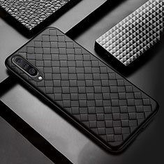 Soft Silicone Gel Leather Snap On Case Cover S01 for Samsung Galaxy A50 Black