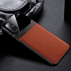 Soft Silicone Gel Leather Snap On Case Cover S01 for Samsung Galaxy A51 5G Brown