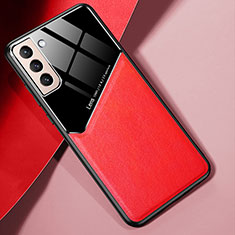 Soft Silicone Gel Leather Snap On Case Cover S01 for Samsung Galaxy S21 Plus 5G Red