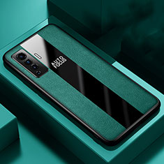 Soft Silicone Gel Leather Snap On Case Cover S01 for Vivo X50 5G Green