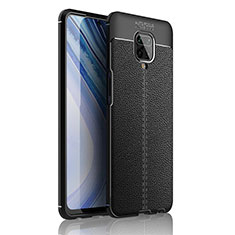 Soft Silicone Gel Leather Snap On Case Cover S01 for Xiaomi Redmi Note 9S Black