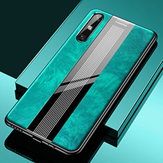 Soft Silicone Gel Leather Snap On Case Cover S02 for Huawei Enjoy 10e Green