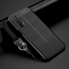 Soft Silicone Gel Leather Snap On Case Cover S02 for Realme X3 SuperZoom Black
