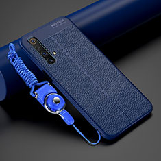 Soft Silicone Gel Leather Snap On Case Cover S02 for Realme X50m 5G Blue