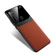 Soft Silicone Gel Leather Snap On Case Cover S02 for Xiaomi Redmi Note 8T Brown