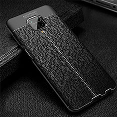 Soft Silicone Gel Leather Snap On Case Cover S02 for Xiaomi Redmi Note 9 Pro Black