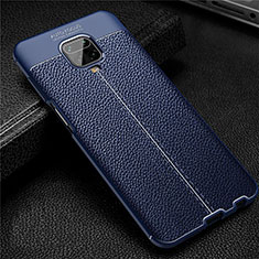 Soft Silicone Gel Leather Snap On Case Cover S02 for Xiaomi Redmi Note 9 Pro Blue