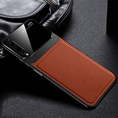 Soft Silicone Gel Leather Snap On Case Cover S03 for Huawei Honor 9X Pro Brown