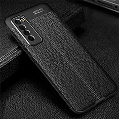 Soft Silicone Gel Leather Snap On Case Cover S03 for Huawei Nova 7 5G Black