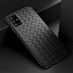 Soft Silicone Gel Leather Snap On Case Cover S03 for Samsung Galaxy A71 5G Black