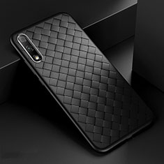 Soft Silicone Gel Leather Snap On Case Cover S04 for Huawei Honor 9X Black