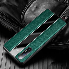 Soft Silicone Gel Leather Snap On Case Cover S04 for Oppo Find X2 Neo Green