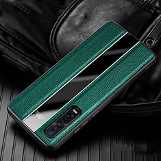 Soft Silicone Gel Leather Snap On Case Cover S04 for Oppo Find X2 Pro Green