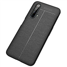 Soft Silicone Gel Leather Snap On Case Cover S04 for Realme X3 SuperZoom Black