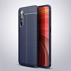 Soft Silicone Gel Leather Snap On Case Cover S04 for Realme X50 Pro 5G Blue